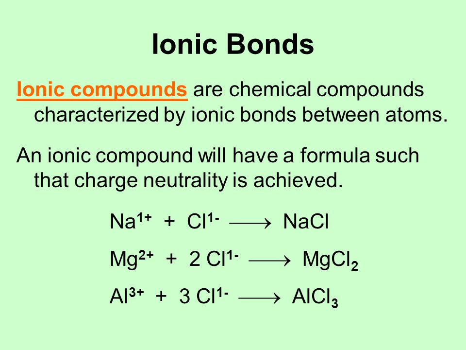 Structures of Ionic Compounds Ionic bonds are non-directional electrostatic forces Ions arrange themselves in an array (usually a crystal lattice) that Maximizes interactions between oppositely charged ions Minimizes interactions between ions of like charge