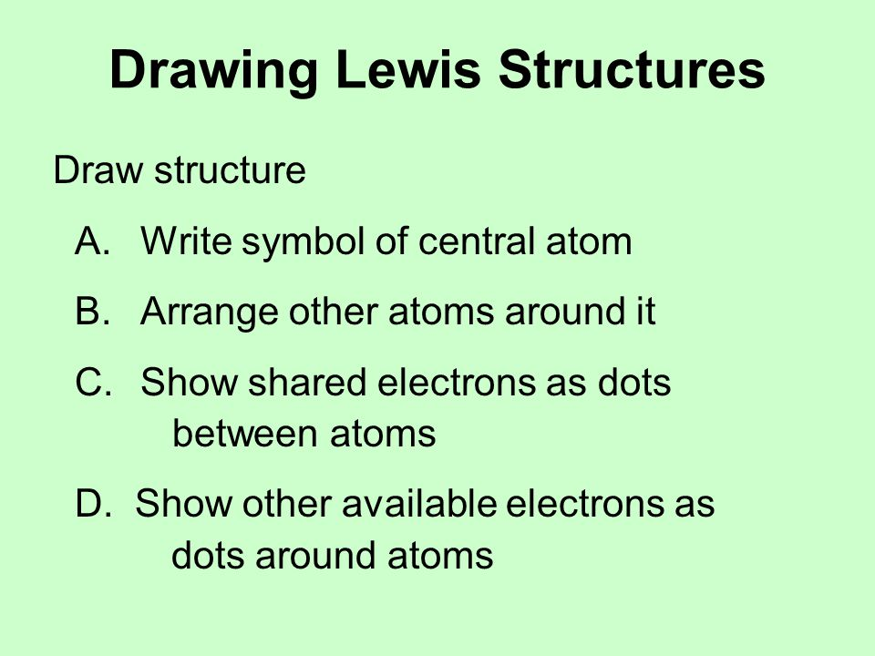 Drawing Lewis Structures Check structure A.Is the right atom in the center.