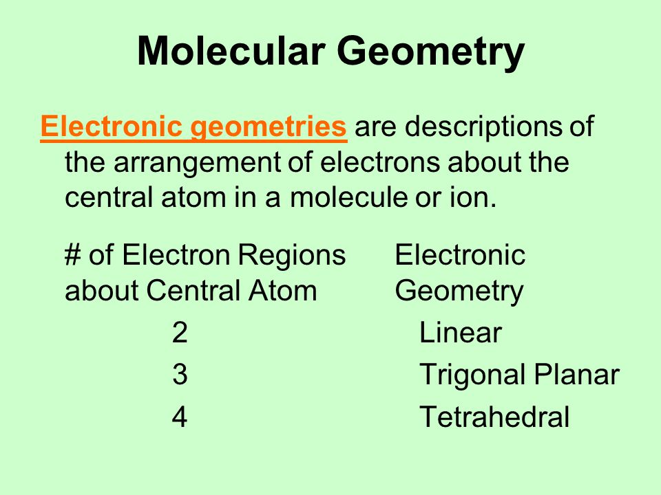 Molecular Geometry The Three Possible Electronic Geometries (where the electrons are)