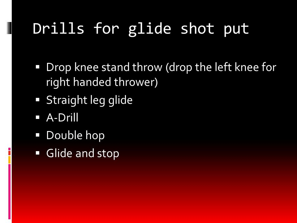 Basics of Glide shot put  The athlete will start with dominant leg in the center of the back of the ring, rear leg will start left of center near the middle of the ring.