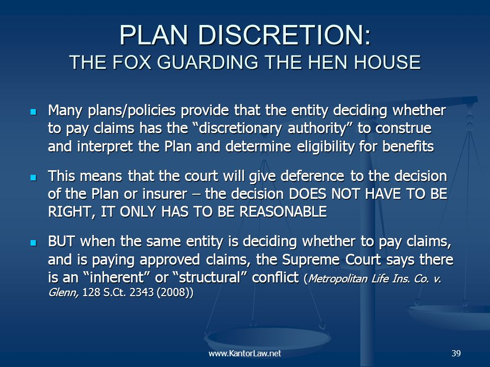 The fox guarding the hen house (continued) A structural conflict of interest introduces an element of skepticism into what would otherwise be deferential judicial review.