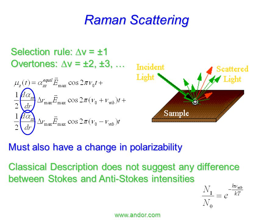 Calculate the ratio of Anti-Stokes to Stokes scattering intensity when T = 300 K and the vibrational frequency is 1440 cm -1.