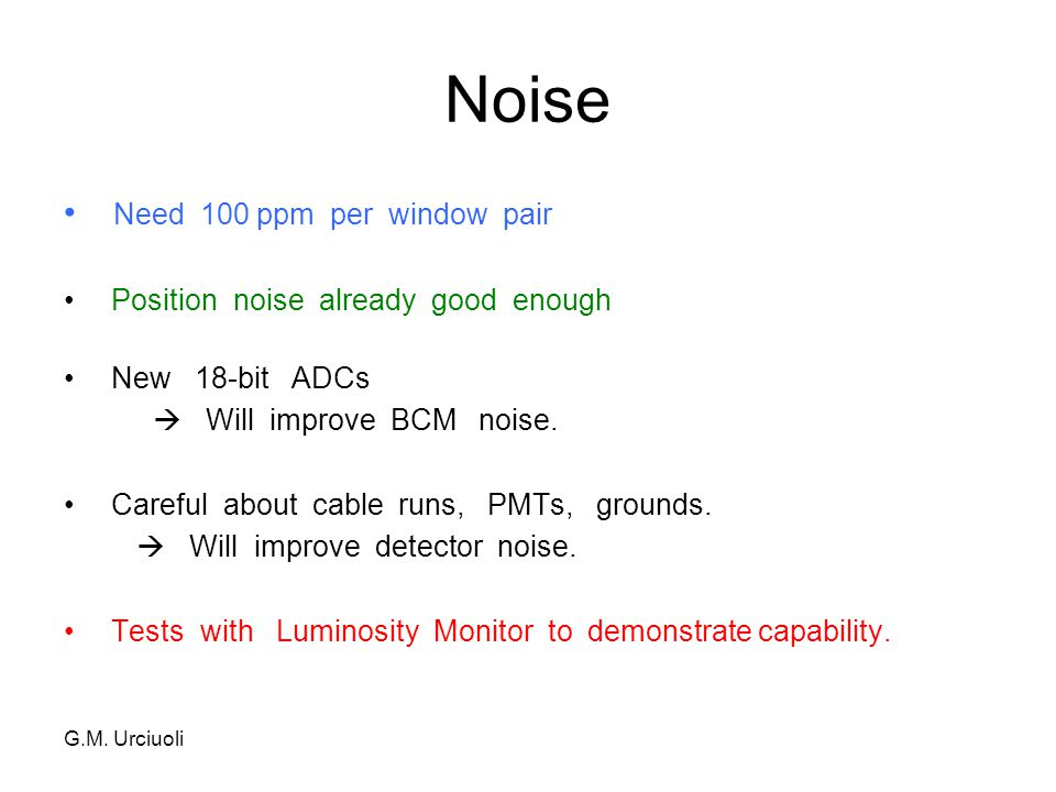 PREX Workshop Aug 08 ~ 50 ppm noise per pulse  milestone for electronics Asymmetries in Lumi Monitors after beam noise subtraction Jan 2008 Data ( need < 100 ppm)