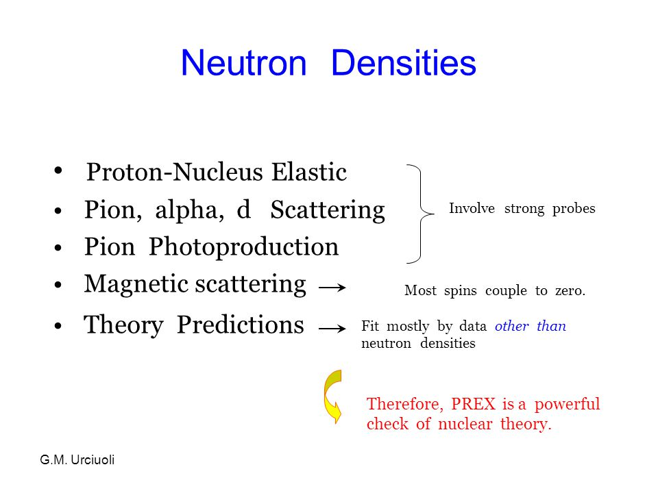 G.M.Urciuoli Nuclear Structure: Neutron density is a fundamental observable that remains elusive.