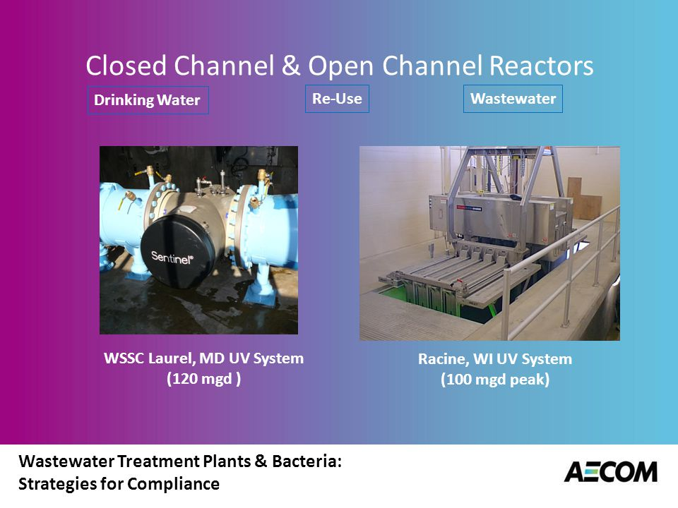 Wastewater Treatment Plants & Bacteria: Strategies for Compliance UV Disinfection System Components & Configurations UV lamps Quartz sleeves holding UV lamp Supporting structure for UV lamps/quartz sleeves Ballasts used to supply regulated power to lamps (limit current to a lamp) Power supply