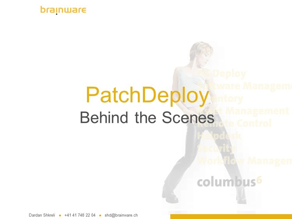 """2 (c) 2004 Brainware Solutions AG Agenda What is """"Patch Day ."""