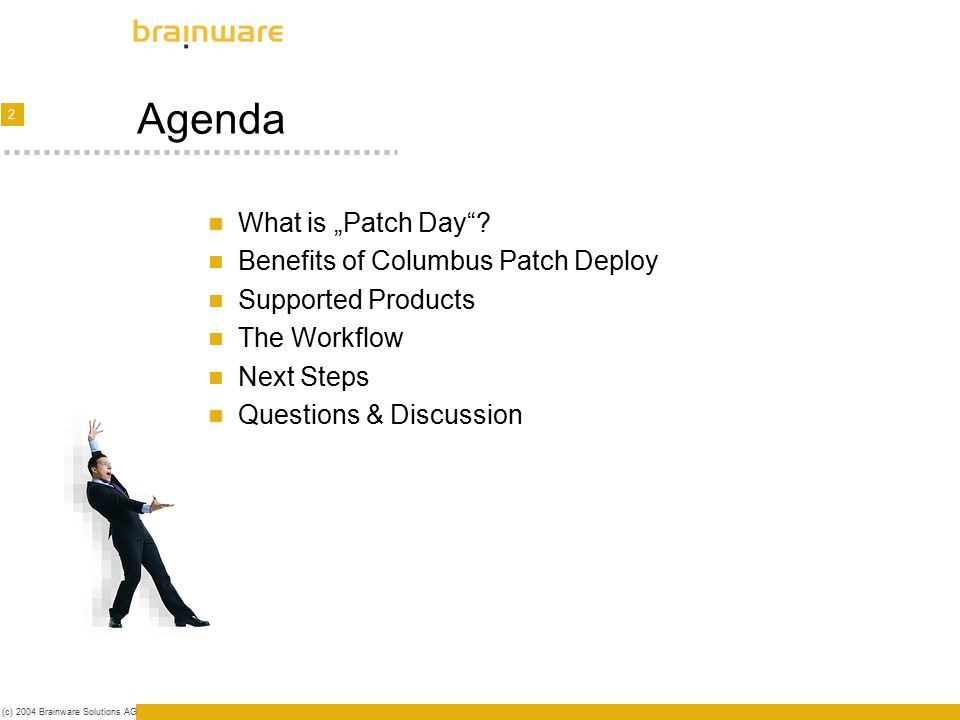 """3 (c) 2004 Brainware Solutions AG What is """"Patch Day ."""