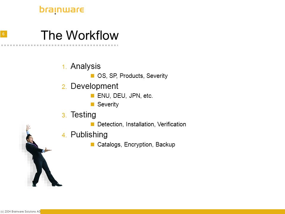 7 (c) 2004 Brainware Solutions AG Analysis First steps - Security Bulletin Analysis (OS, SP, Products, Severity) Filtering (SLA) Infrastructure