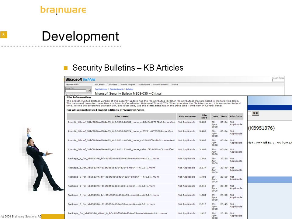 9 (c) 2004 Brainware Solutions AG Patch creation Methods Snapshots (Package Maker), MSI, Copy, Combination Architecture Development [Package] Description=KB 950760 / MS08-032 - Cumulative Security Update for ActiveX Killbits for Windows XP (KB950760): SP2-SP3 Identifier=950760 - MS08-032.BWP000183.BWS000312 Language=ENU Version=01 Patch=0 Platform=XP AllowConditionalUsage=0 Usercondition=File *.* Clientcondition= (reserved for future use only) Servercondition= (reserved for future use only) ; When should the package be released .