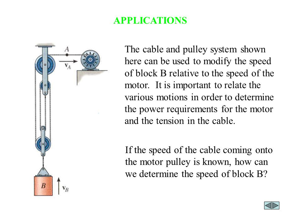 APPLICATIONS (continued) Rope and pulley arrangements are often used to assist in lifting heavy objects.