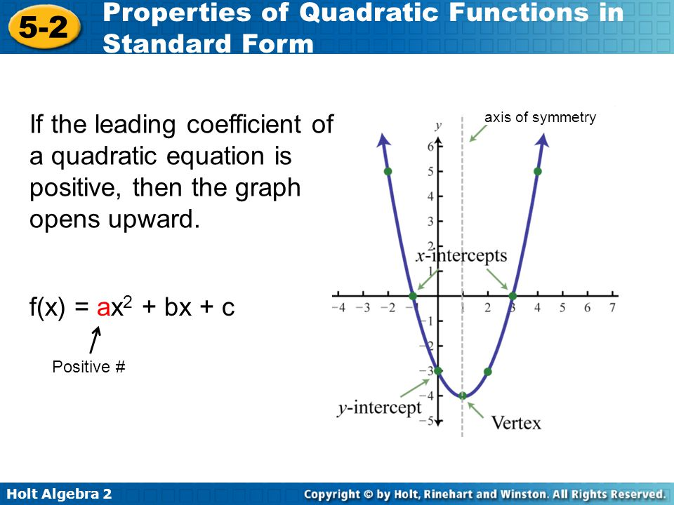 Holt Algebra 2 5-2 Properties of Quadratic Functions in Standard Form If the leading coefficient of a quadratic equation is negative, then the graph opens downward.