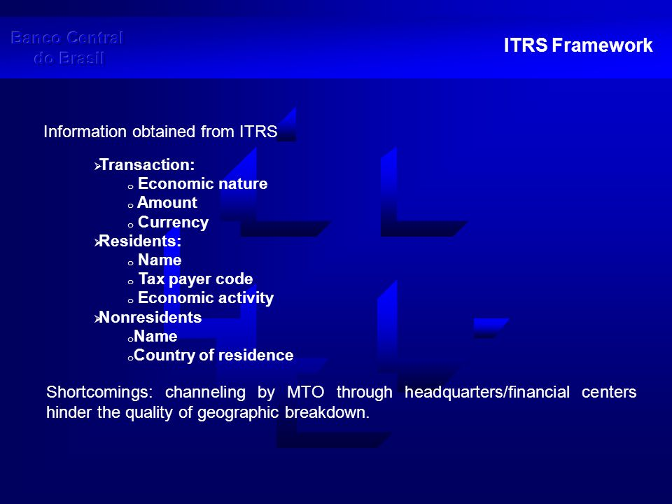 ITRS Framework The characteristics of the ITRS described previously allow for the collection of highly detailed information regarding the flows and structure of the workers' remittances market.