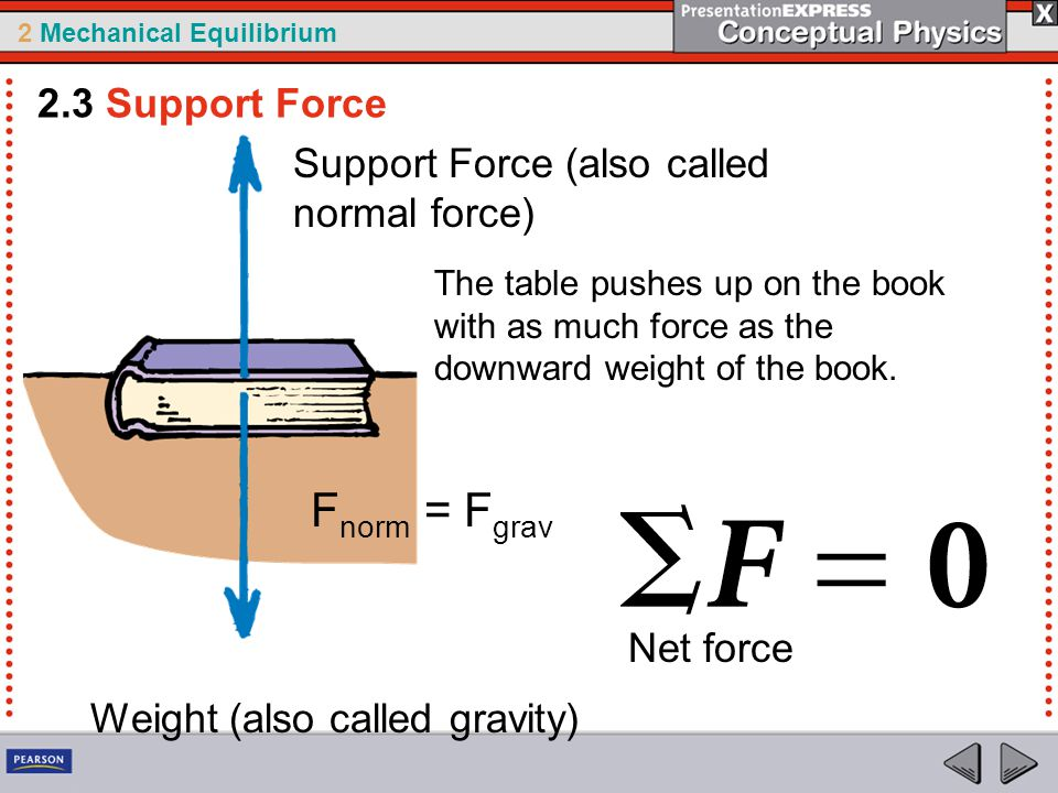 2 Mechanical Equilibrium 2.3 Support Force Physics The book lying on the table compresses atoms in the table and they squeeze upward on the book.