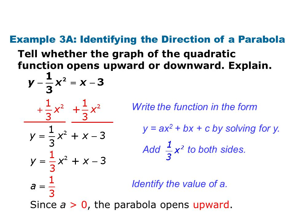 Example 3B: Identifying the Direction of a Parabola Tell whether the graph of the quadratic function opens upward or downward.