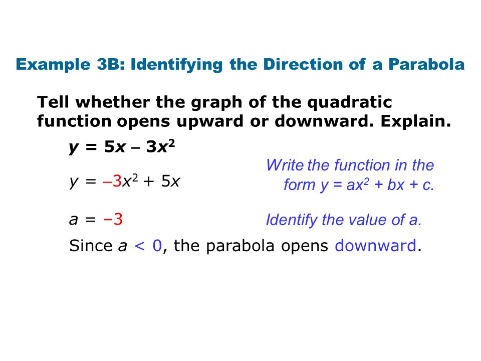 Check It Out.Example 3a Tell whether the graph of the quadratic function opens upward or downward.