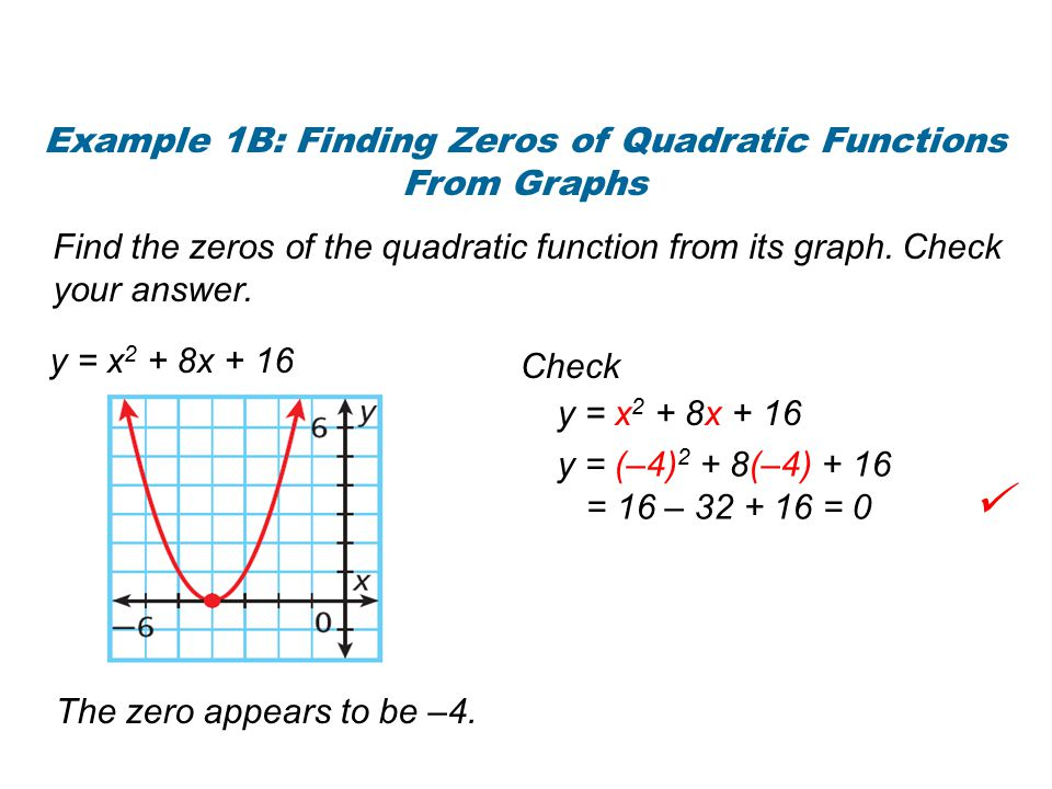 Notice that if a parabola has only one zero, the zero is the x-coordinate of the vertex.