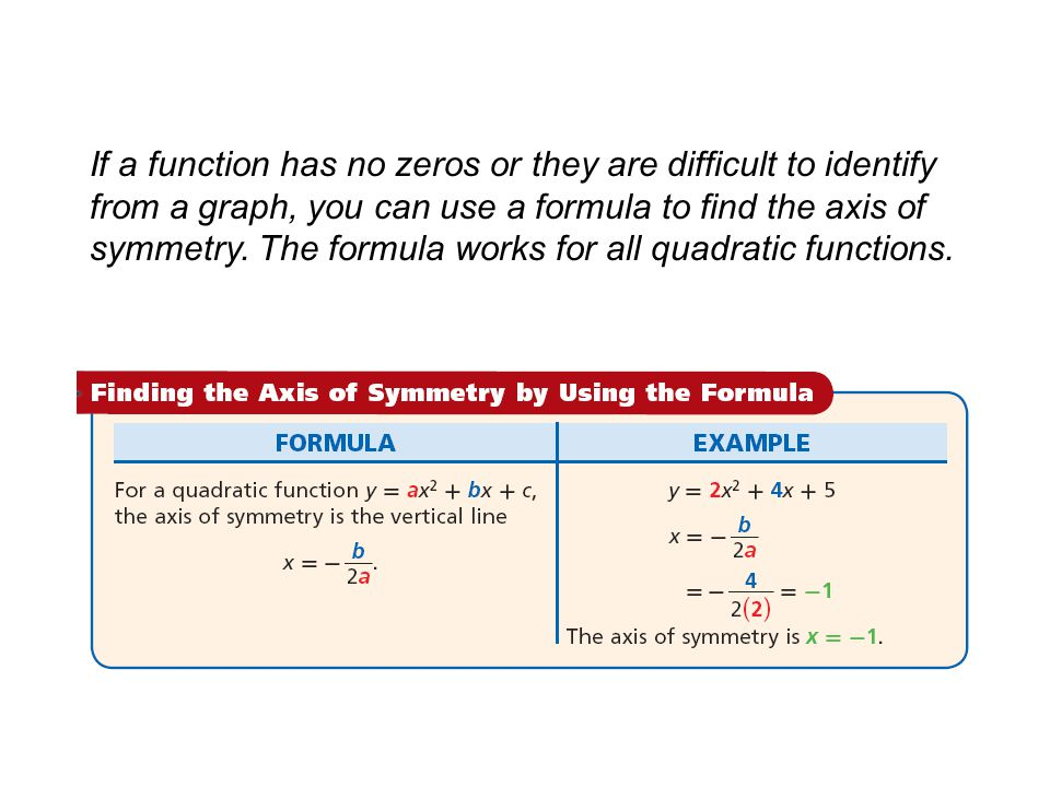 Example 3: Finding the Axis of Symmetry by Using the Formula Find the axis of symmetry of the graph of y = –3x 2 + 10x + 9.