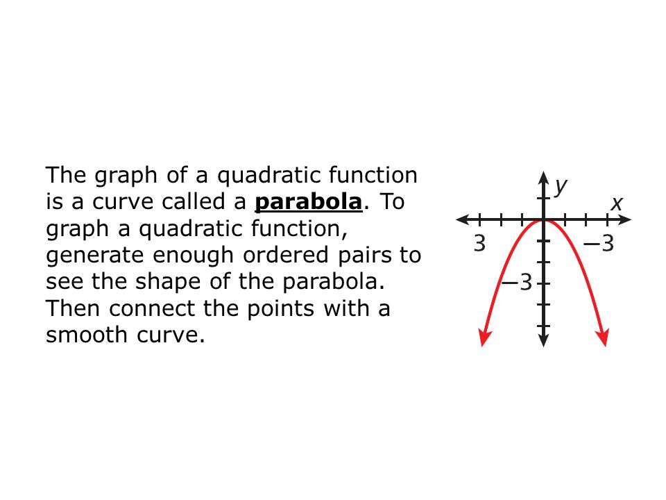 Example 2A: Graphing Quadratic Functions by Using a Table of Values Use a table of values to graph the quadratic function.