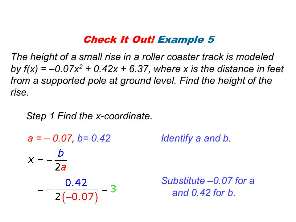 Check It Out.Example 5 Continued Step 2 Find the corresponding y-coordinate.