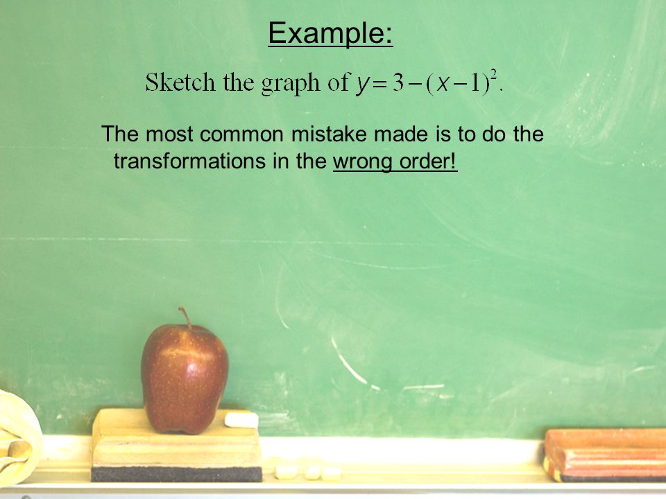 Example: The most common mistake made is to do the transformations in the wrong order.