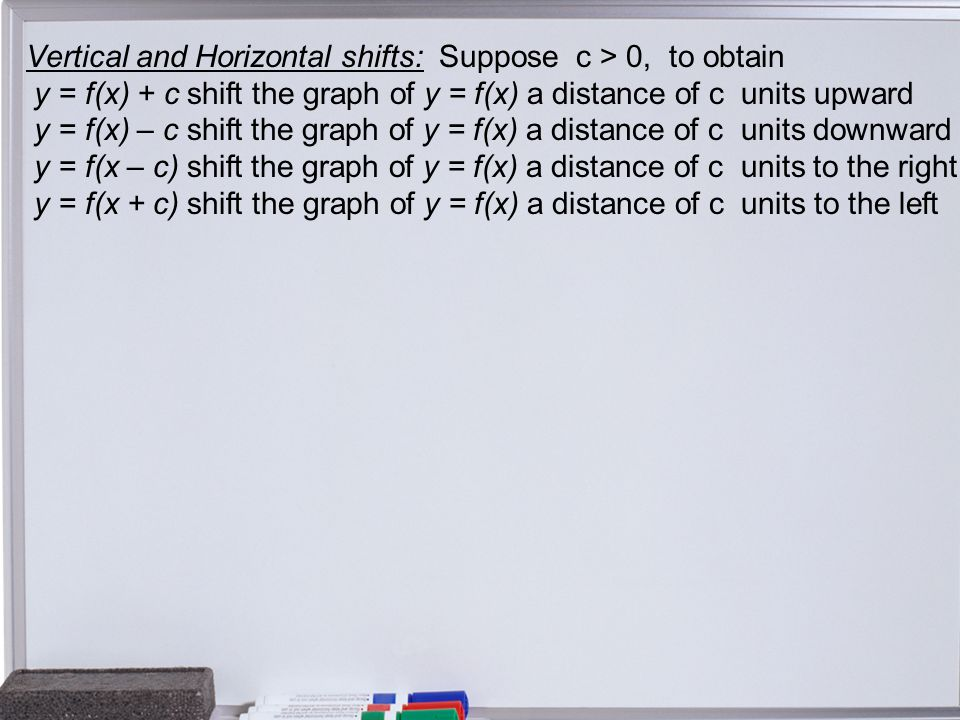 Vertical and Horizontal shifts: Suppose c > 0, to obtain y = f(x) + c shift the graph of y = f(x) a distance of c units upward y = f(x) – c shift the graph of y = f(x) a distance of c units downward y = f(x – c) shift the graph of y = f(x) a distance of c units to the right y = f(x + c) shift the graph of y = f(x) a distance of c units to the left