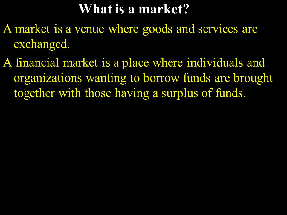 Types of financial markets Physical assets vs.Financial assets Money vs.