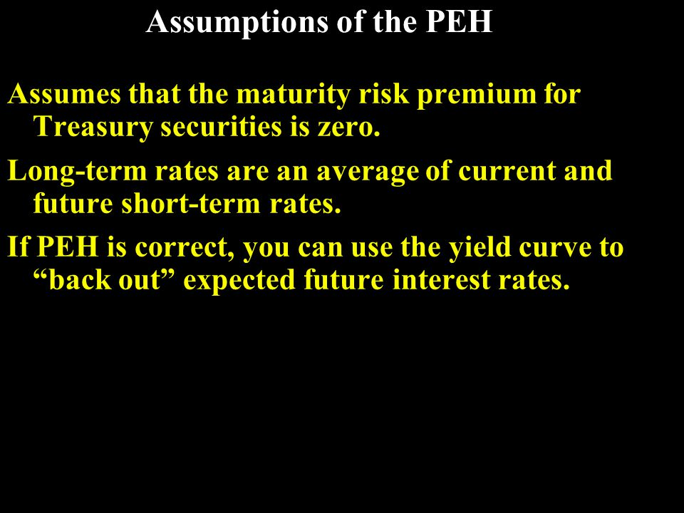 An example: Observed Treasury rates and the PEH MaturityYield 1 year6.0% 2 years6.2% 3 years6.4% 4 years6.5% 5 years6.5% If PEH holds, what does the market expect will be the interest rate on one-year securities, one year from now.