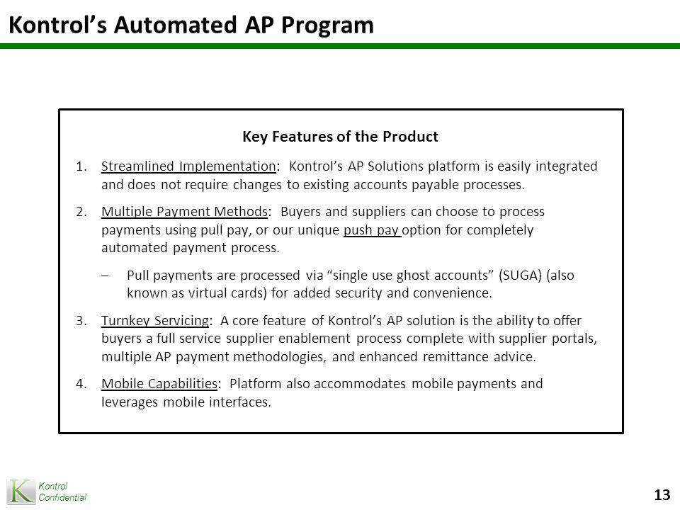 Kontrol Confidential 14 Portfolio Portability Sales and Marketing Support Managed Services Kontrol Program Elements