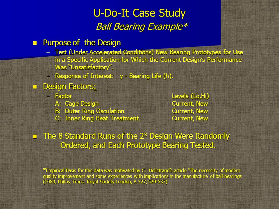 U-Do-It Case Study Ball Bearing Example - A Typical Ball Bearing