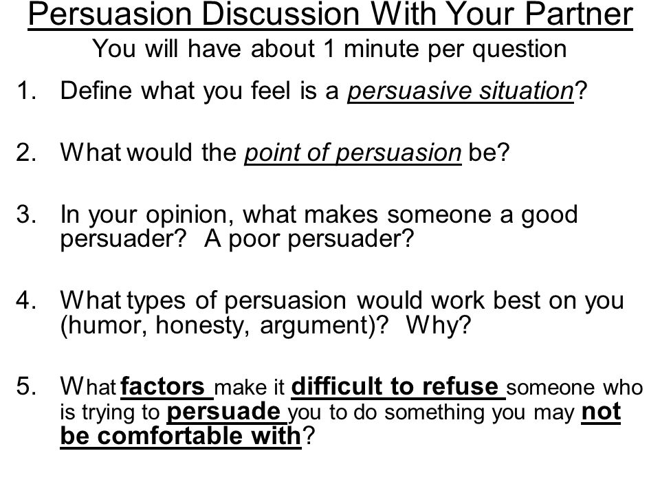 What do these words have in common? AVOID ESCAPE REFUSE 3 ways to avoid a persuasive situation…