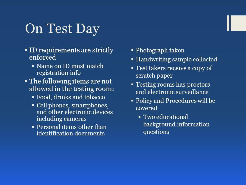 Revised General Test Format Approx.
