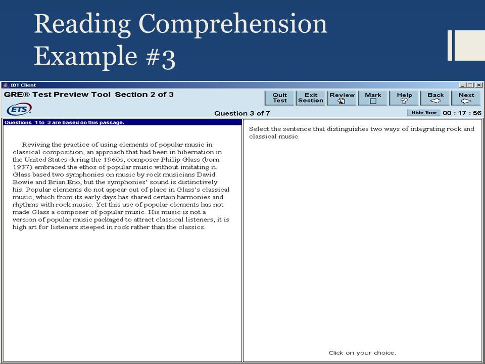 Reading Comprehension, cont.