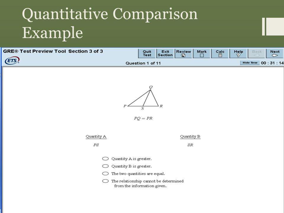 Quantitative Comparison Example Answer