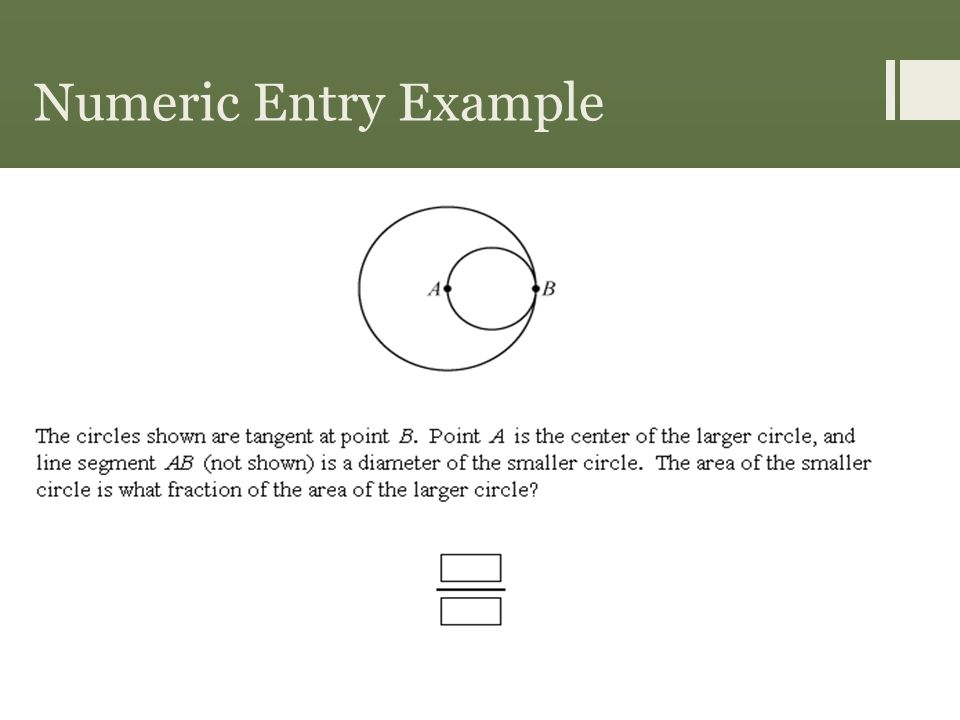 Numeric Entry Example Answer 1 4
