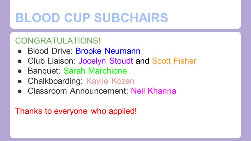 Social Subchairs ●Error in google doc responses.o Send one in if you were interested.