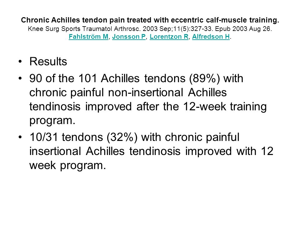 Conclusion In the majority of the studies we researched comparing eccentric training with other forms of treatments, it was agreed that eccentric training was the most effective treatment for insertional and non-insertional Achilles tendonitis Shockwave therapy was effective but it is not being used in the U.S.A.