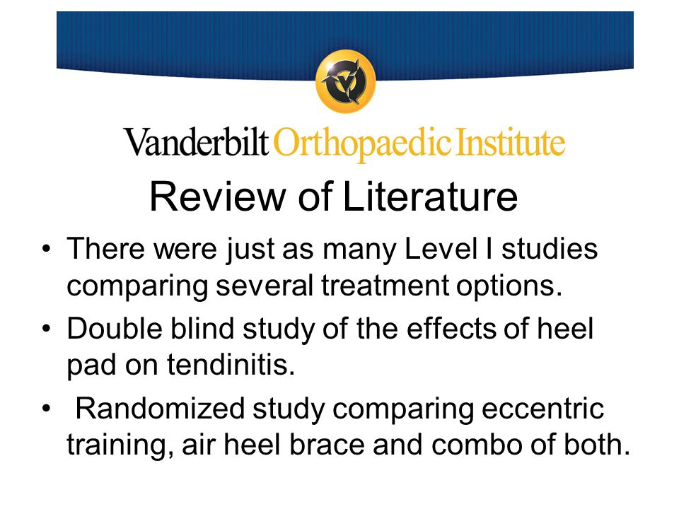 Review of Literature A randomized controlled trial comparing shockwave treatment with eccentric loading.
