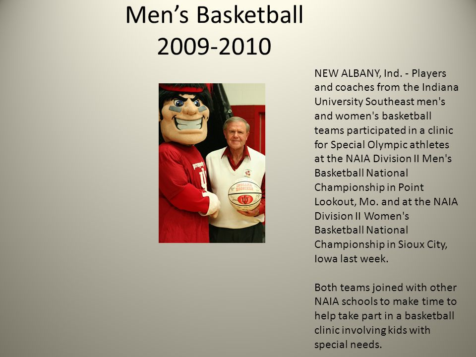 Men's Basketball 2009-2010 NEW ALBANY, Ind.