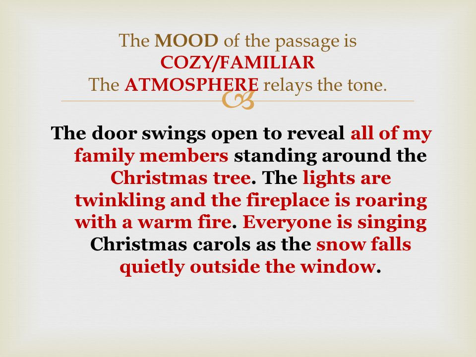  The door swings open to reveal a Christmas tree, alone in the middle of the room, sparkling with hundreds of lights.