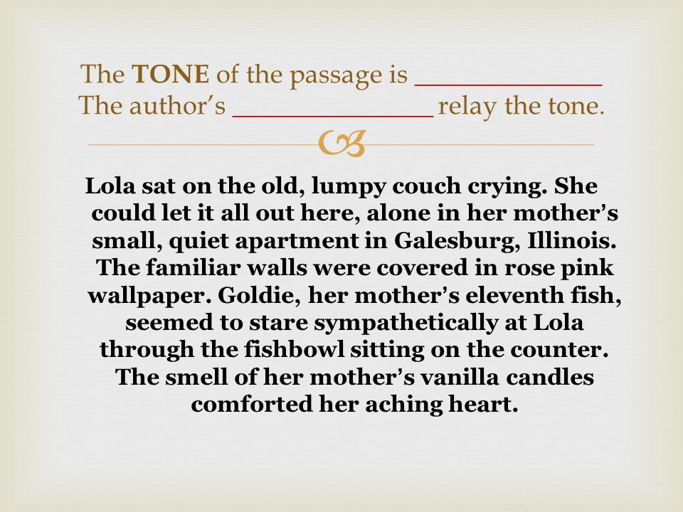  Lola sat on the old, lumpy couch crying.