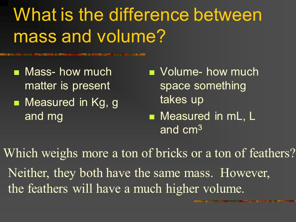 What is the difference between mass and volume.