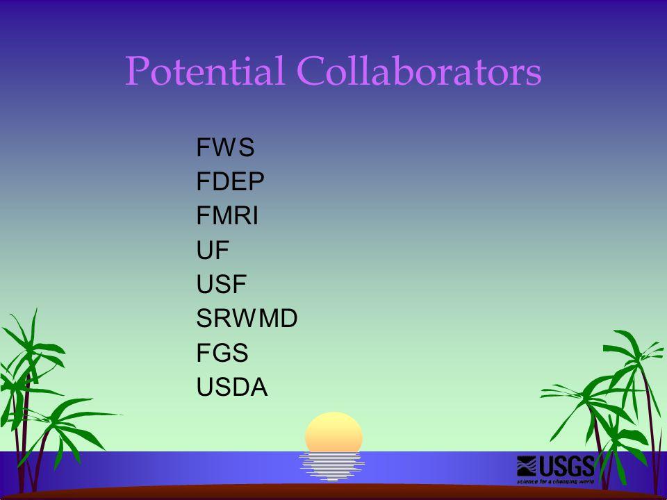 Potential Collaborators FWS FDEP FMRI UF USF SRWMD FGS USDA