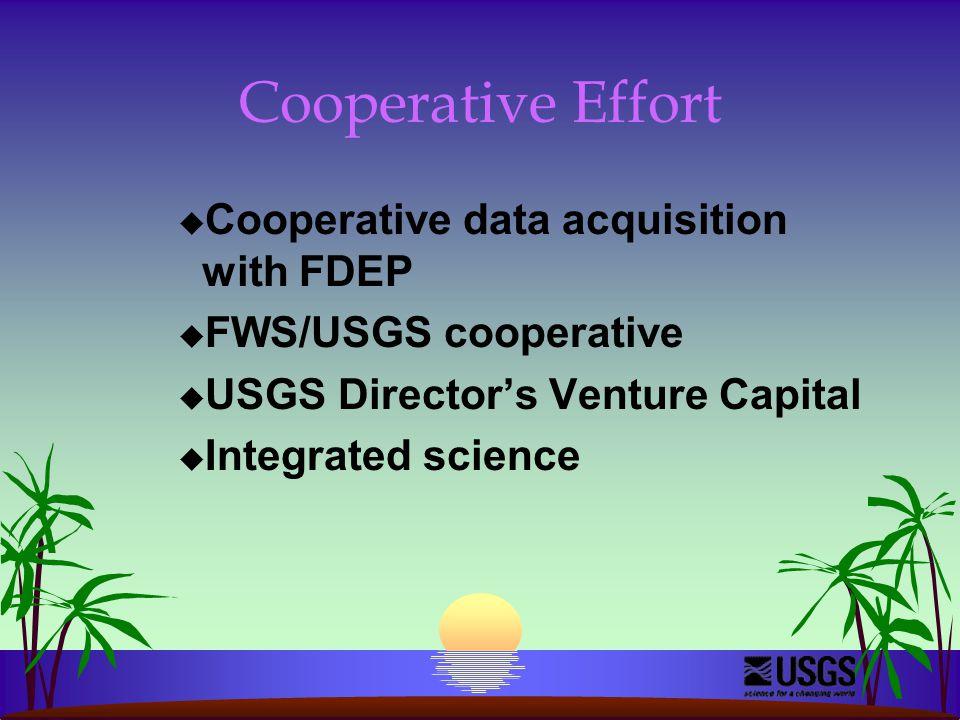 Cooperative Effort u Cooperative data acquisition with FDEP u FWS/USGS cooperative u USGS Director's Venture Capital u Integrated science