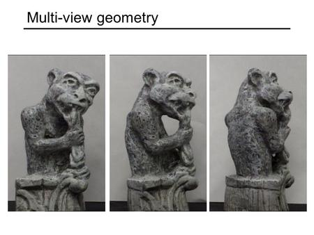 Multi-view geometry. Multi-view geometry problems Structure: Given projections of the same 3D point in two or more images, compute the 3D coordinates.