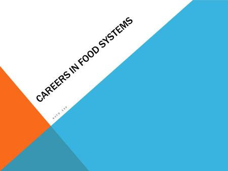 CAREERS IN FOOD SYSTEMS NUFD 130. FOOD SYSTEMS This program is designed to provide students with the skills and knowledge they will need to manage the.