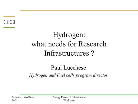 Brussels, 1st of June 2005 Energy Research Infrastucture Workshop Hydrogen: what needs for Research Infrastructures ? Paul Lucchese Hydrogen and Fuel cells.