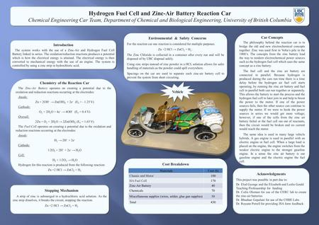 Hydrogen Fuel Cell and Zinc-Air Battery Reaction Car Chemical Engineering Car Team, Department of Chemical and Biological Engineering, University of British.