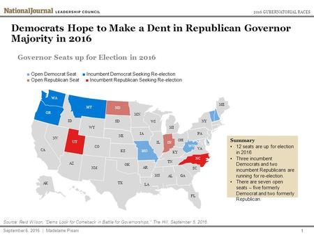 Democrats Hope to Make a Dent in Republican Governor Majority in 2016 2016 GUBERNATORIAL RACES September 6, 2016 | Madelaine Pisani Source: Reid Wilson,
