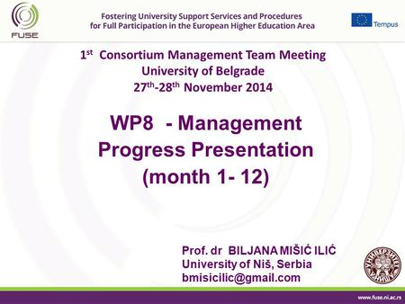 1 st Consortium Management Team Meeting University of Belgrade 27 th -28 th November 2014 WP8 - Management Progress Presentation (month 1- 12) Prof. dr.