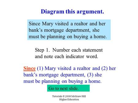 Tutorials © 2008 McGraw Hill Higher Education Since Mary visited a realtor and her bank's mortgage department, she must be planning on buying a home. Step.